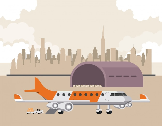 Vervoer commerciële passagiers vliegtuig cartoon Gratis Vector