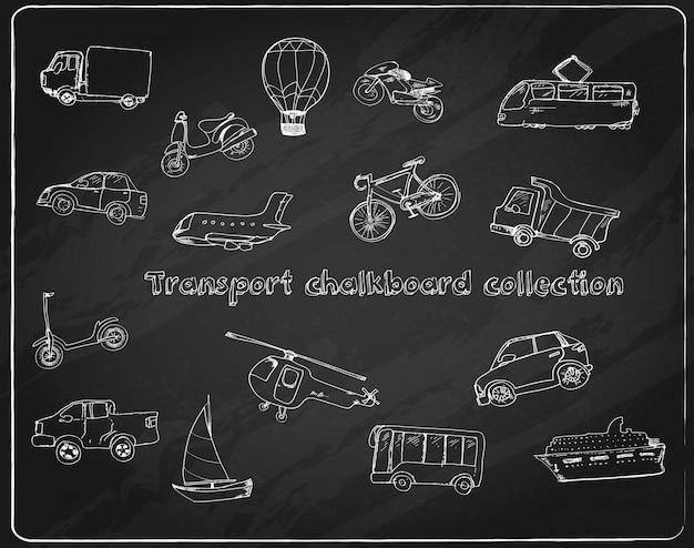 Vervoer doodle set schoolbord Gratis Vector