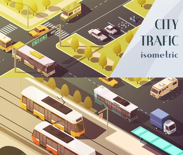 Vervoer horizontale die banners met de symbolen van het stadsverkeer worden geplaatst Gratis Vector