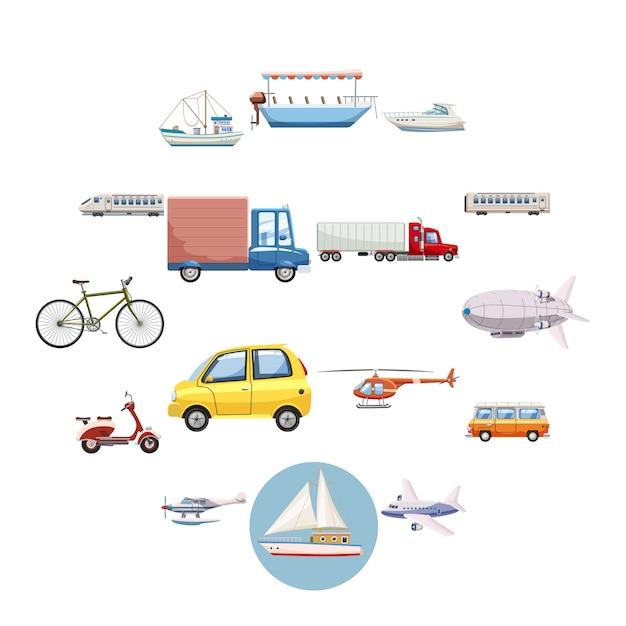 Vervoer iconen set, cartoon stijl Premium Vector