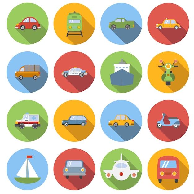 Vervoer iconen set, vlakke stijl Premium Vector