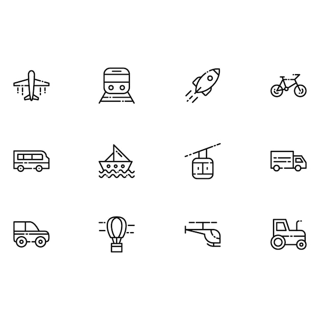 Vervoer iconen Gratis Vector