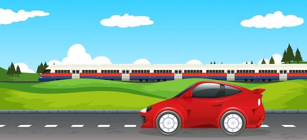 Vervoer in landelijk landschap Gratis Vector