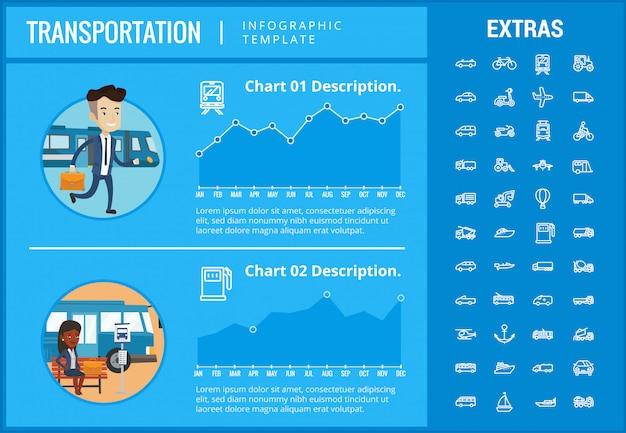 Vervoer infographic sjabloon en elementen Premium Vector