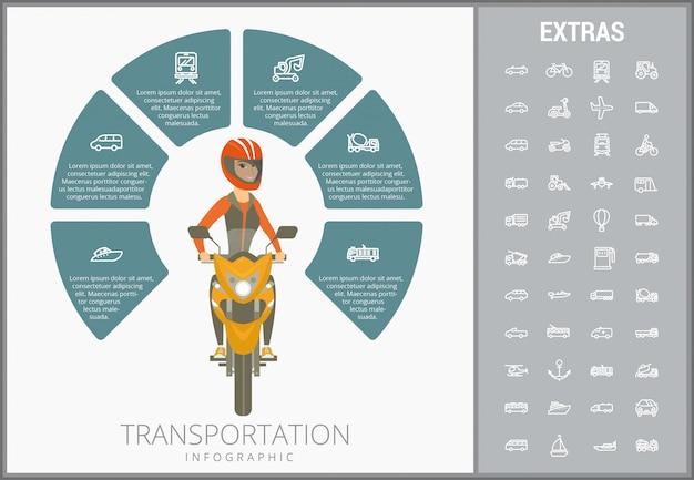 Vervoer infographic sjabloon en pictogrammen instellen Premium Vector