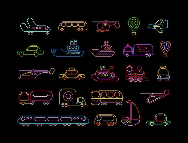 Vervoer neon pictogrammen Premium Vector