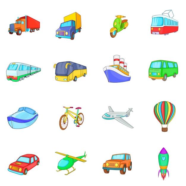 Vervoer pictogrammen instellen Premium Vector