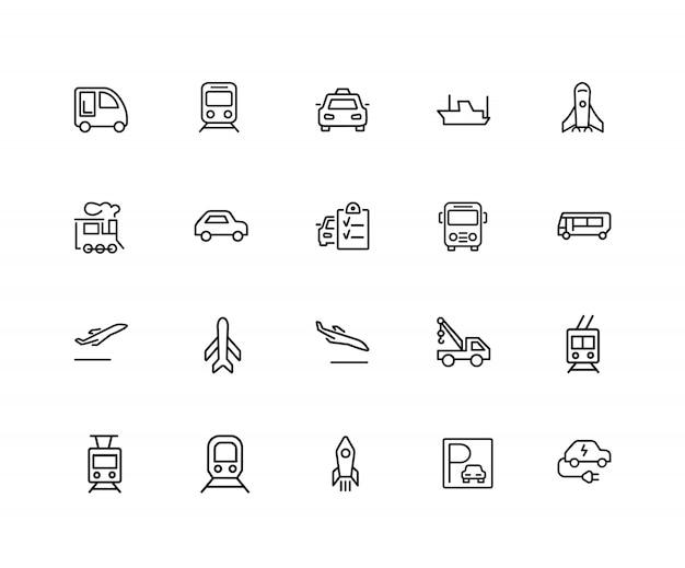 Vervoer pictogrammen. set van twintig lijn pictogrammen. trein, vliegtuig, taxi. voertuig icon set. Premium Vector