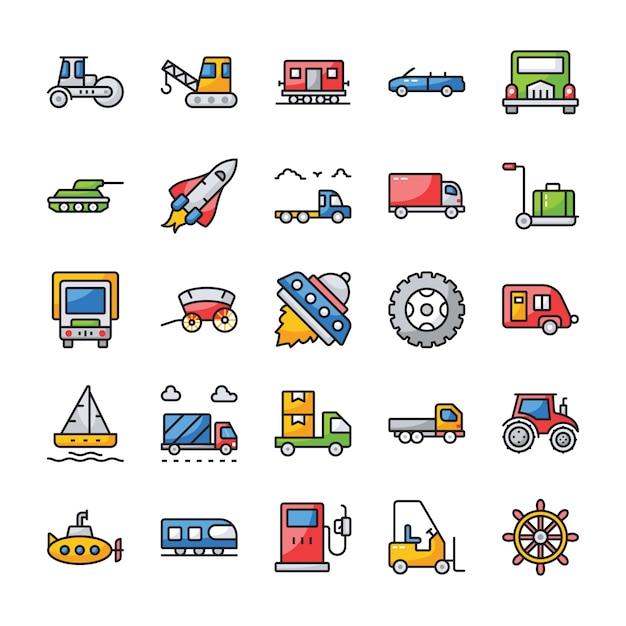 Vervoer plat pictogrammen instellen Premium Vector