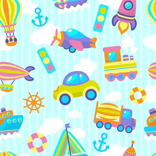 Vervoer speelgoed naadloze patroon Gratis Vector