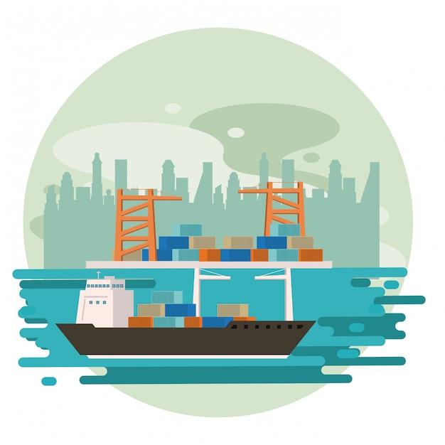 Vervoer vracht koopwaar schip cartoon Gratis Vector