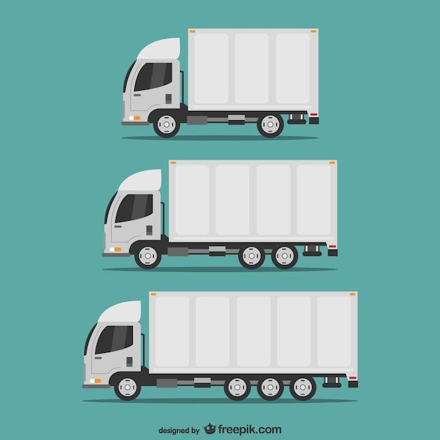 Vervoersvrachtwagens vector set Gratis Vector