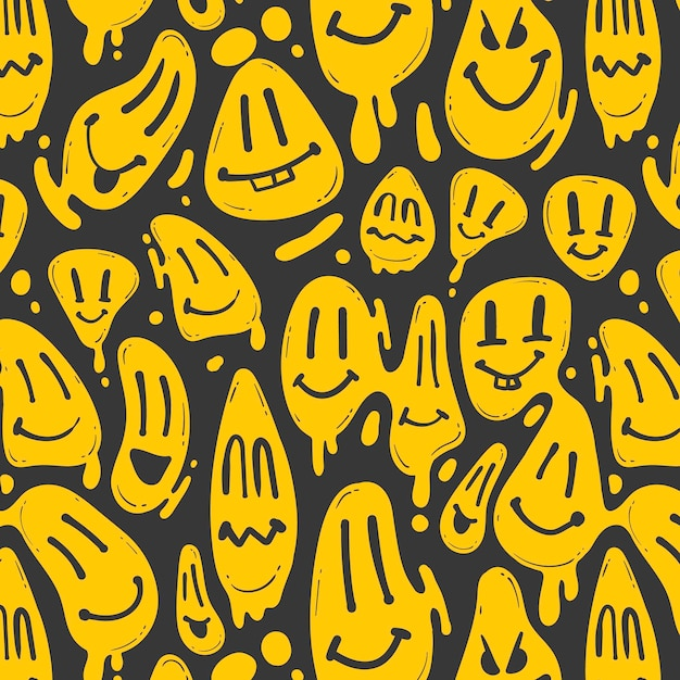 Vervormd smile-emoticon-patroon Premium Vector