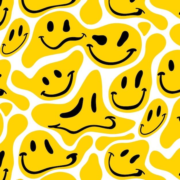 Vervormd smile-emoticon-patroon Gratis Vector