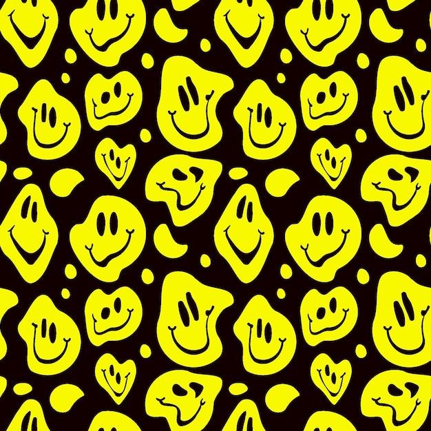 Vervormde glimlach emoticon patroon Premium Vector