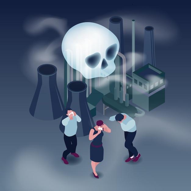 Vervuiling in stad isometrisch concept met mensen en rook isometrisch Gratis Vector