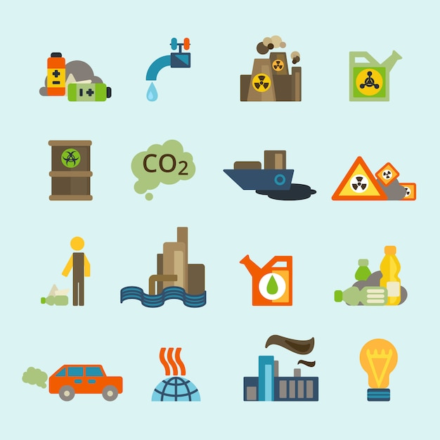 Vervuiling pictogramserie Premium Vector