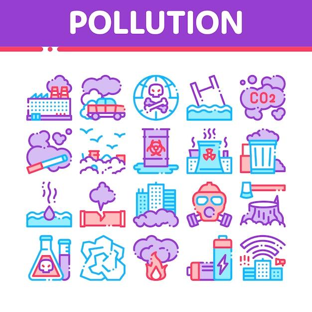 Vervuiling van de natuur Premium Vector