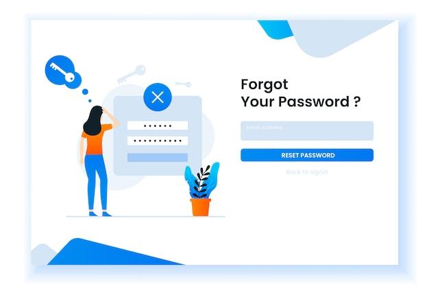 Verwarde vrouw die haar wachtwoordillustratie voor web-pagina vergeet Premium Vector
