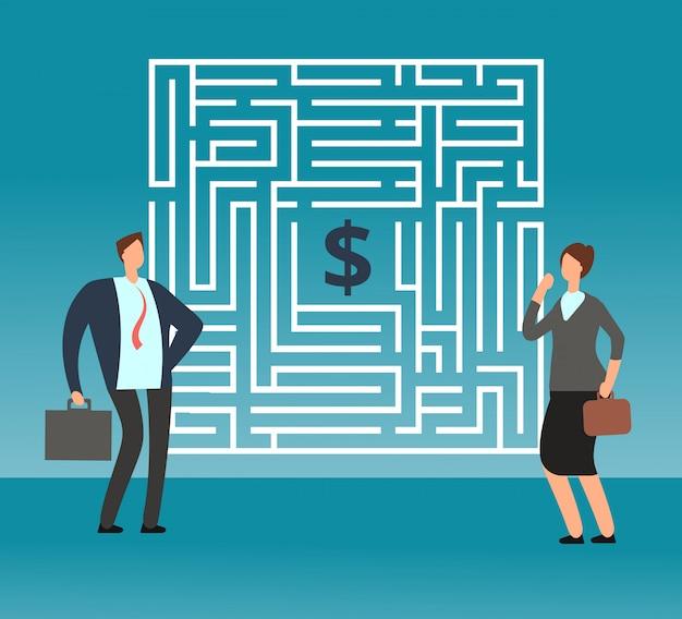 Verwarde zakenman die denken hoe te om labyrint uit te gaan en geld te krijgen. teamwork en carrière vector concept Premium Vector