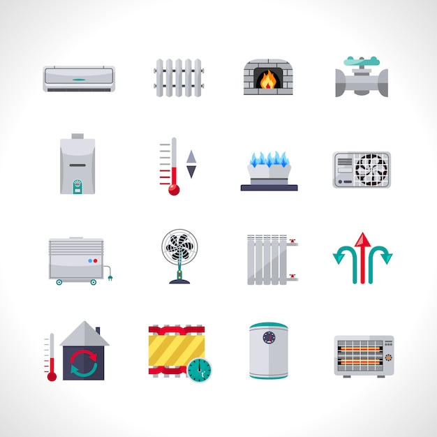 Verwarming icons set Gratis Vector