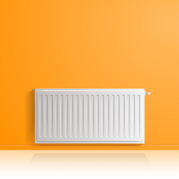 Verwarmingsradiator op oranje muur, vooraanzicht. Premium Vector