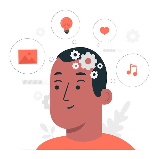 Verwerking gedachten concept illustratie Gratis Vector