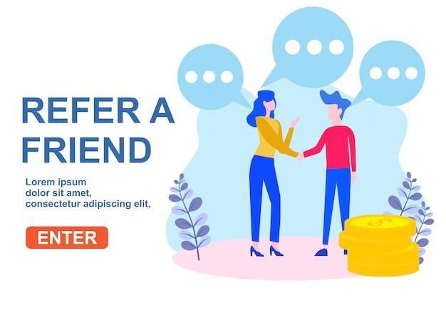 Verwijs een concept van de vrienden vectorillustratie Premium Vector