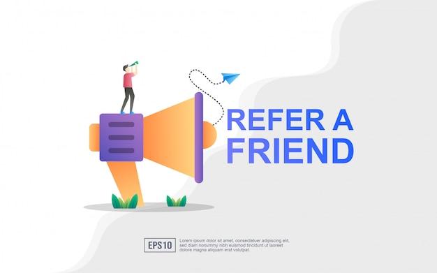 Verwijs een concept van een vriendillustratie, megafoon met verwijs een vriendenwoord Premium Vector