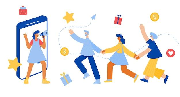 Verwijs een vriend belettering. vrouw met megafoon. verwijzingsprogramma concept. gelukkige mensen hand in hand. Premium Vector