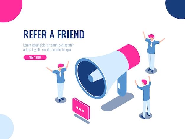 Verwijs een vriend isometrisch pictogram, mensen team in promotie, reclame, teamwork en collectief werk Gratis Vector