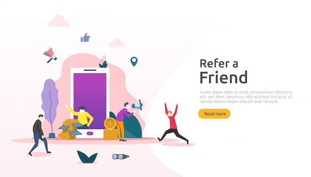 Verwijs een vriend strategie en affiliate marketing concept. mensen karakter delen verwijzing zakelijke samenwerking en verdien geld. sjabloon voor web-bestemmingspagina, banner, poster, gedrukte media Premium Vector