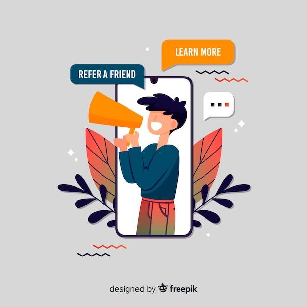 Verwijs een vriendenconcept met smartphone en megafoon Gratis Vector