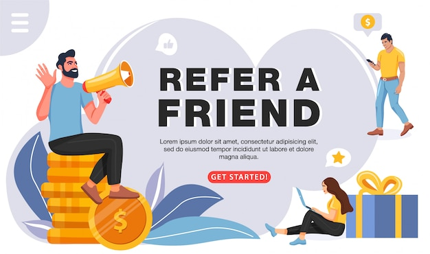 Verwijs een vriendenconcept, sjabloon voor website Premium Vector