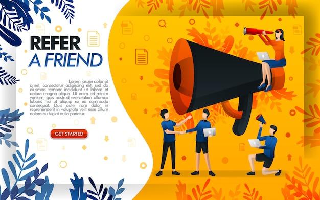 Verwijs een vriendillustratie met een reuzemegafoon voor bevordering Premium Vector