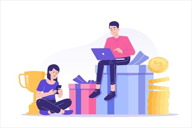 Verwijzingsmarketing met mensen die op geschenken en geld zitten Premium Vector