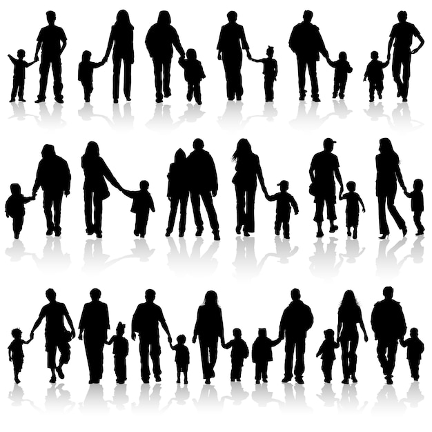 Verzamel familiesilhouetten Premium Vector