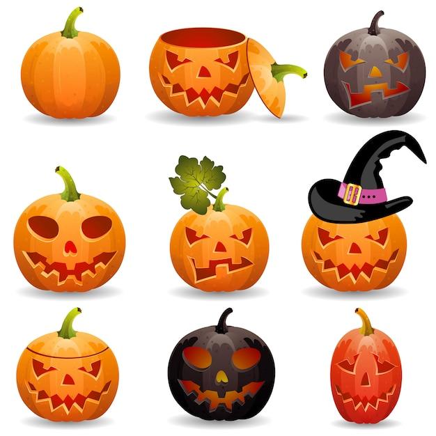 Verzamel pumpkin voor halloween Premium Vector