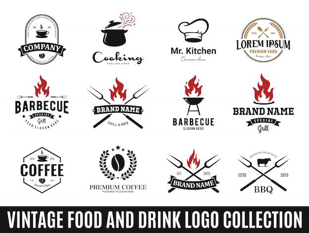 Verzameling beste logo's voor eten en drinken Premium Vector