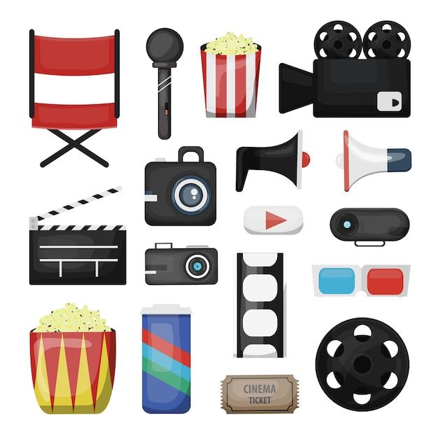 Verzameling bioscoopelementen en regisseursapparatuur op de witte achtergrond. concept van filmindustrie en filmen. Premium Vector