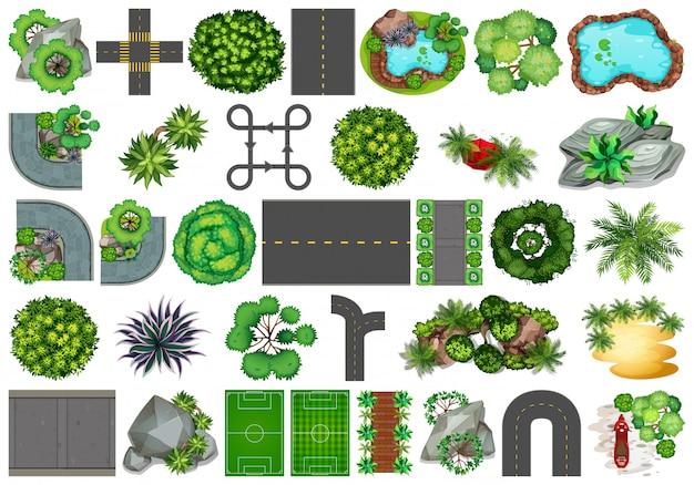 Verzameling buitenobjecten met natuurthema en plantelementen Gratis Vector