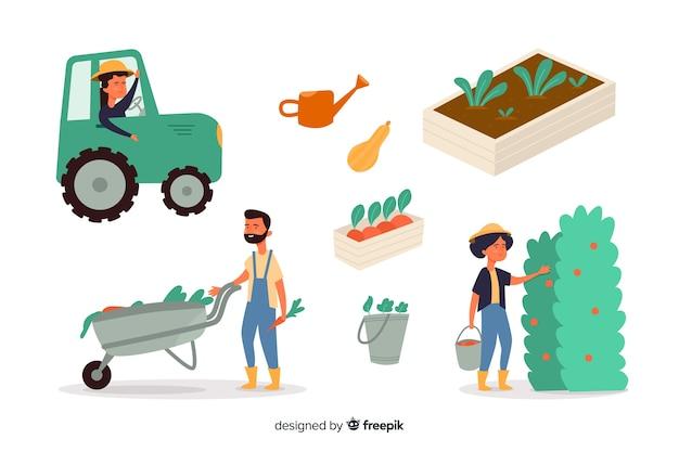 Verzameling burgers die in de landbouw werken Gratis Vector