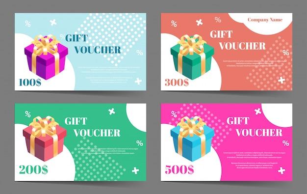 Verzameling cadeaubonnen. set sjablonen voor cadeaubon of kortingsaanbieding. Premium Vector