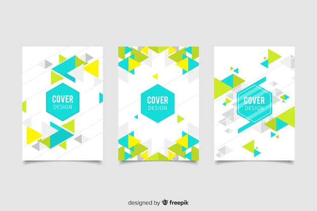 Verzameling covers met geometrisch ontwerp Gratis Vector