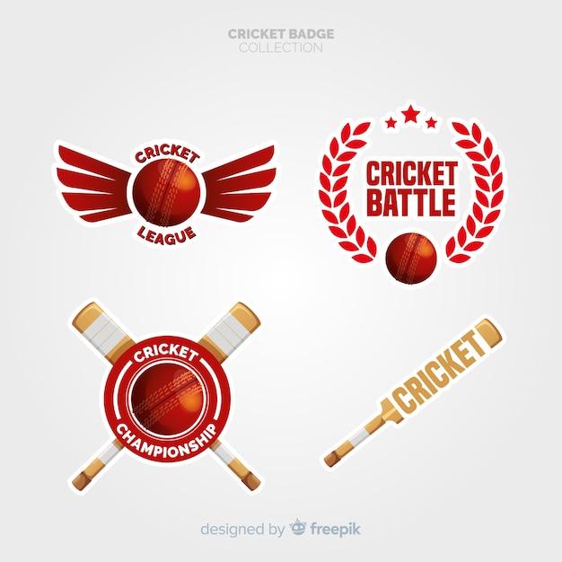 Verzameling cricketetiketten Gratis Vector