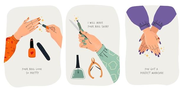 Verzameling gedaan manicure illustraties Gratis Vector