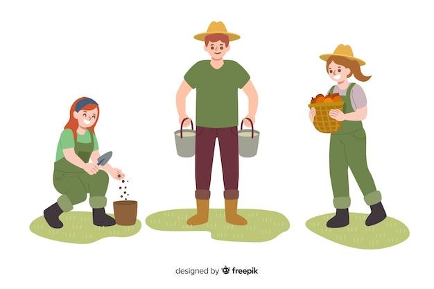 Verzameling geïllustreerde landarbeiders Gratis Vector