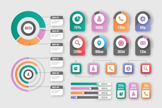 Verzameling gradiënt infographic elementen Gratis Vector