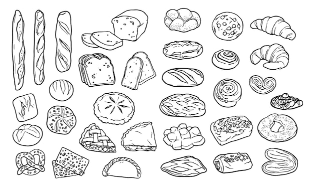 Verzameling handgetekende elementen voor bakkerij Gratis Vector