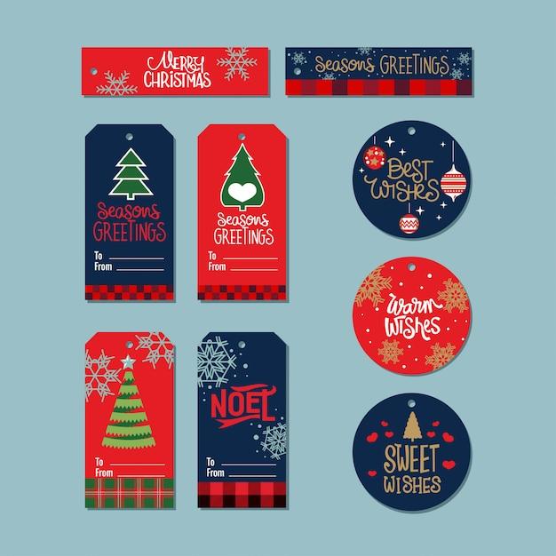 Verzameling kerstcadeau tags met citaat Premium Vector